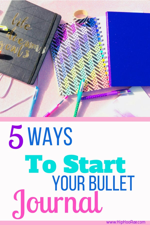 5 Ways to start your bullet journal. Helpful tips and ideas of what to use when first starting.