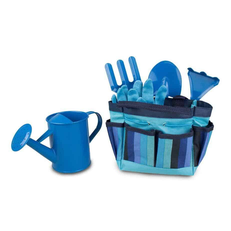 blue kids gardening tool set
