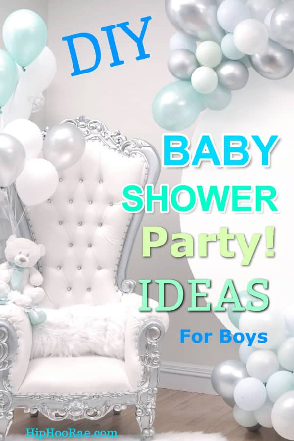 Boys Baby Shower Party with Balloons Big Chair and Teddy Bear