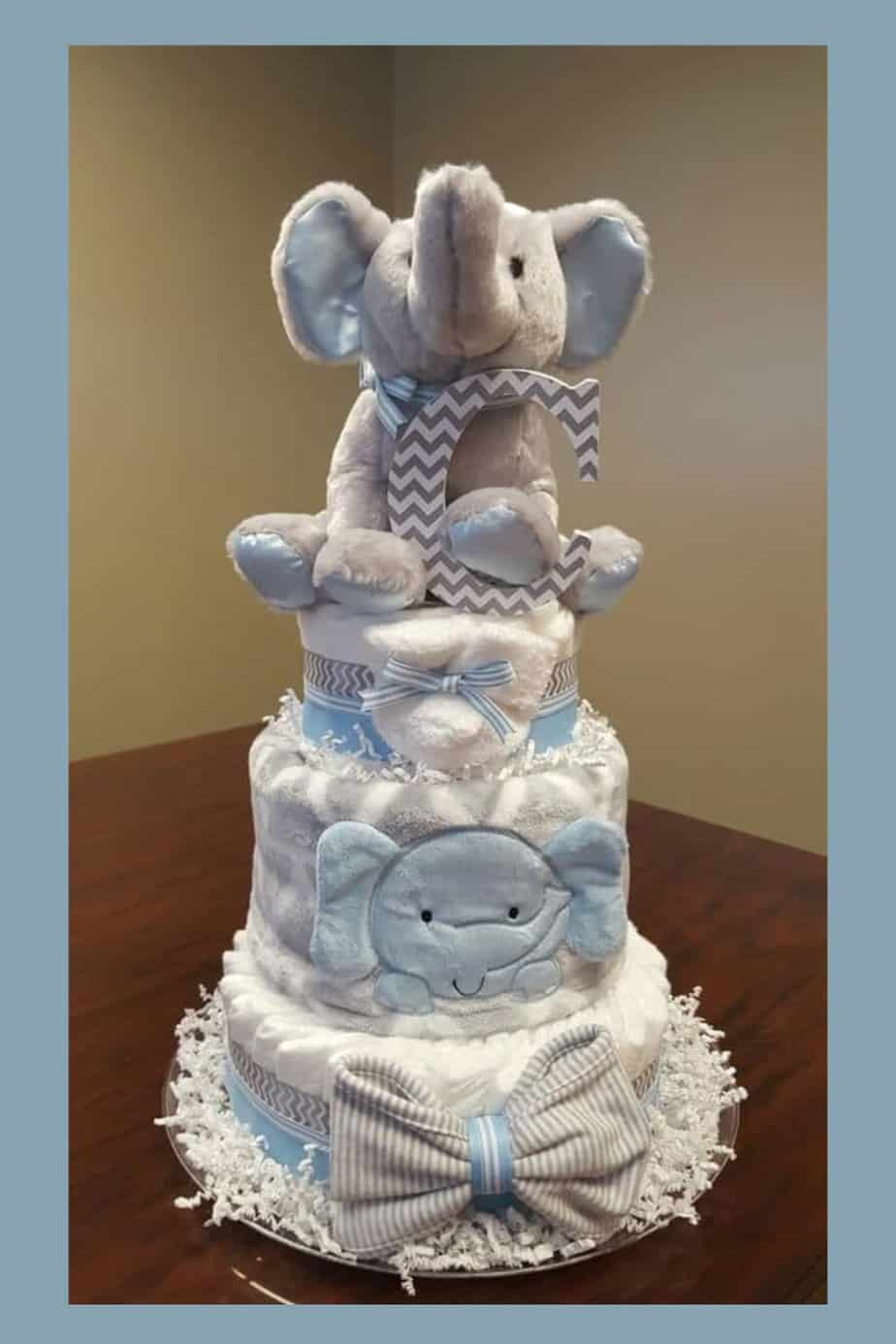 Elephant Diaper Cake blue and white