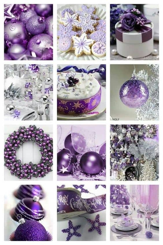 Purple And Silver Christmas Decorations  from hiphoorae.com